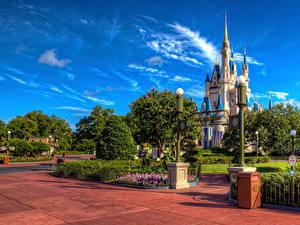 Bilder USA Disneyland Park Burg Kalifornien Anaheim Design Straßenlaterne HDRI Städte