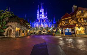 Hintergrundbilder Vereinigte Staaten Disneyland Parks Burg Kalifornien Anaheim Design Nacht Straßenlaterne
