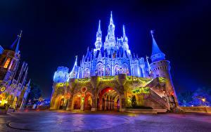 Fotos USA Disneyland Park Burg Kalifornien Anaheim Design Nacht