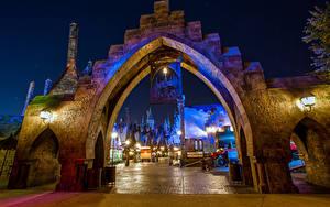 Fotos USA Disneyland Park Haus Kalifornien Anaheim Design HDR Nacht Straßenlaterne Städte