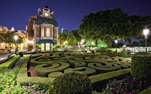 壁纸、、アメリカ合衆国、ディズニーランド、公園、住宅、カリフォルニア州、アナハイム、デザイン、夜、低木、街灯、ハイダイナミックレンジ合成、都市