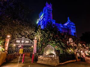 Fotos Vereinigte Staaten Disneyland Park Haus Kalifornien Anaheim Design Nacht Das Tor Straßenlaterne Städte
