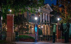 壁纸、、アメリカ合衆国、ディズニーランド、公園、住宅、カリフォルニア州、アナハイム、デザイン、夜、街灯、ゲート、都市