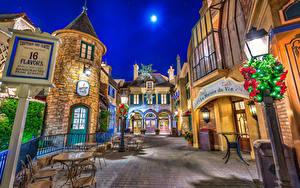 Fotos USA Disneyland Park Haus Kalifornien Anaheim Design Stadtstraße Nacht Straßenlaterne