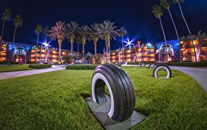 Fotos Vereinigte Staaten Disneyland Parks Haus Kalifornien Anaheim Design HDR Nacht Palmengewächse Autoreifen Städte