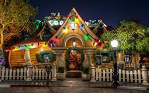 Bilder USA Disneyland Park Haus Kalifornien Anaheim HDR Design Nacht Straßenlaterne Zaun Städte