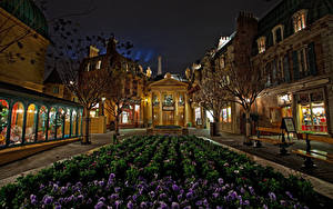 Bilder USA Disneyland Park Gebäude Ackerveilchen Kalifornien Anaheim Straße Nacht HDRI Design Städte