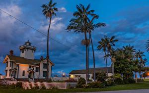 Bilder USA Abend Gebäude Leuchtturm Kalifornien Palmengewächse Zaun Point Fermin Lighthouse in San Pedro Städte