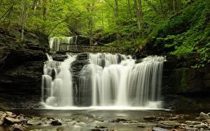 Hintergrundbilder USA Wälder Wasserfall Stein Fluss Bäume Mohawk Falls, Colebrook, New Hampshire Natur