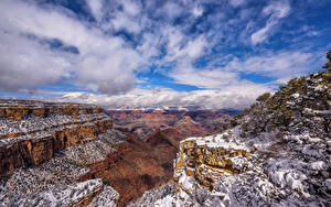 Pictures USA Grand Canyon Park Mountains Sky Crag Trees Snow Clouds Arizona Nature