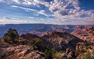 Pictures USA Grand Canyon Park Sky Rock Clouds Canyons Arizona Nature