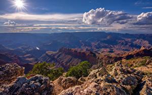 Bilder USA Grand Canyon Park Himmel Sonne Wolke Canyons Arizona Natur