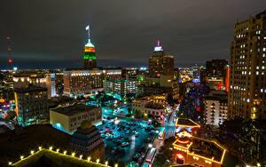 Fotos USA Haus Neujahr Texas Straße Nacht Straßenlaterne San Antonio Städte