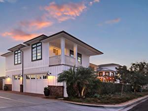 Fotos USA Gebäude Abend Herrenhaus Garage Straßenlaterne Newport Beach