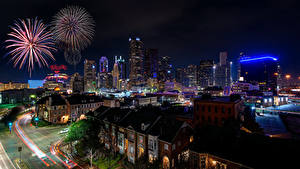 Fotos USA Haus Feuerwerk Straße Nacht Dallas Städte