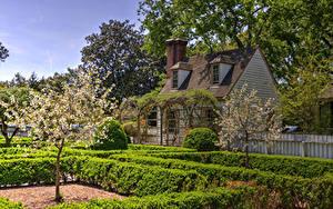 Fotos USA Gebäude Garten Blühende Bäume HDRI Strauch Williamsburg Virginia Natur