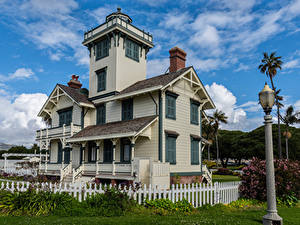 Fotos USA Haus Leuchtturm Kalifornien Zaun Straßenlaterne Point Fermin Lighthouse in San Pedro Städte