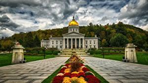 Bilder Vereinigte Staaten Haus Hügel HDR Montpelier, Vermont, Vermont state Capitol Städte