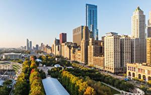 Fotos USA Gebäude Morgen Wolkenkratzer Chicago Stadt Städte