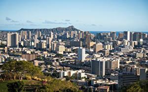 Hintergrundbilder Vereinigte Staaten Gebäude Berg Hawaii Von oben Honolulu, Oahu Städte
