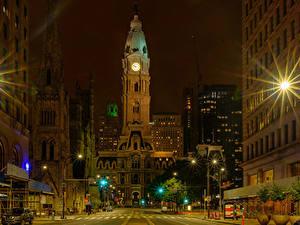 Bilder Vereinigte Staaten Gebäude Nacht Lichtstrahl Stadtstraße Straßenlaterne Philadelphia