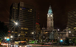 Fotos Vereinigte Staaten Gebäude Nacht Straßenlaterne Lichtstrahl Straße Philadelphia Städte