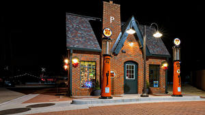 Hintergrundbilder USA Haus Nacht Straßenlaterne Red Fork, Oklahoma, Phillips 66 Station