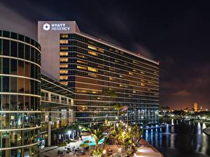 Bilder USA Gebäude Fluss Abend Straßenlaterne Long Beach