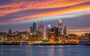 Hintergrundbilder Vereinigte Staaten Haus Fluss Abend Schiffsanleger Philadelphia Städte