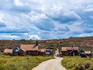 Bilder USA Gebäude Straße Park Kalifornien Wolke Bodie State Historic Park