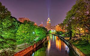 Fotos Vereinigte Staaten Haus Texas Kanal Nacht Straßenlaterne Bäume HDR San Antonio Städte