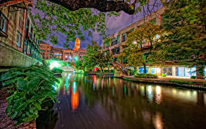 Bilder Vereinigte Staaten Haus Texas Kanal Nacht Straßenlaterne San Antonio