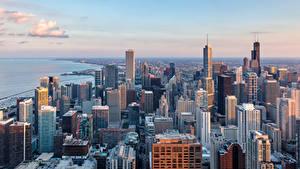 Hintergrundbilder Vereinigte Staaten Gebäude Wolkenkratzer Chicago Stadt Von oben Städte