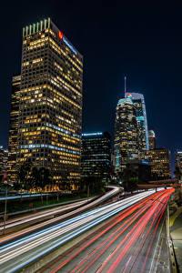 Hintergrundbilder USA Gebäude Wolkenkratzer Wege Los Angeles Nacht Fahren