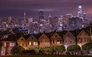 Hintergrundbilder Vereinigte Staaten Gebäude Wolkenkratzer San Francisco Kalifornien Nacht Städte