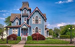 Fotos USA Gebäude Herrenhaus Zaun Rasen Straßenlaterne Springfield, Illinois Städte