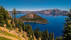 Fotos Vereinigte Staaten See Berg Bäume Crater Lake, Oregon