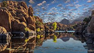 Bilder Vereinigte Staaten See Himmel Felsen Wolke Arizona