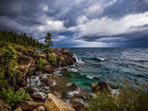 Hintergrundbilder USA See Stein Felsen Bäume Lake Tahoe