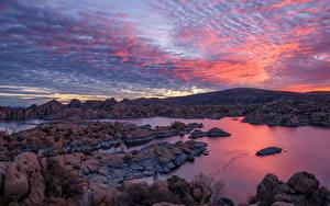 Hintergrundbilder USA See Stein Berg Sonnenaufgänge und Sonnenuntergänge Himmel Watson Lake, Arizona