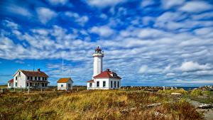 Fotos USA Leuchtturm Himmel Washington Wolke Point Wilson Lighthouse Natur