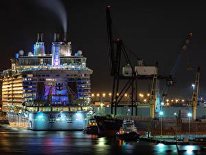 Fotos USA Seebrücke Schiffe Kreuzfahrtschiff Florida Nacht Straßenlaterne Fort Lauderdale