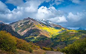 Hintergrundbilder USA Gebirge Herbst Wege Wolke Colorado Natur