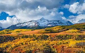Fotos Vereinigte Staaten Berg Herbst Landschaftsfotografie Wolke Wilson Peak, Colorado