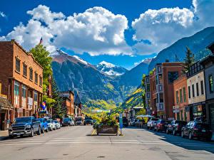 Desktop hintergrundbilder Vereinigte Staaten Berg Gebäude Wolke Stadtstraße Town of Telluride, Colorado Städte