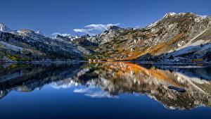 Bilder Vereinigte Staaten Berg See Himmel Kalifornien Spiegelung Spiegelbild Sierra Nevada, Lake Sabrina