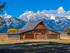 Fotos Vereinigte Staaten Gebirge Parks Haus Hölzern Grand Teton National Park