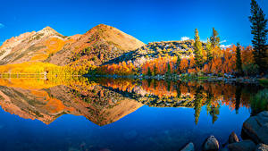 Wallpapers USA Mountains Rivers Autumn Landscape photography California Reflected Nature