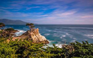 Hintergrundbilder Vereinigte Staaten Ozean Küste Kalifornien Felsen Pebble Beach Natur