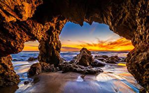 Desktop hintergrundbilder USA Ozean Küste Sonnenaufgänge und Sonnenuntergänge Kalifornien Felsen El Matador Beach Natur